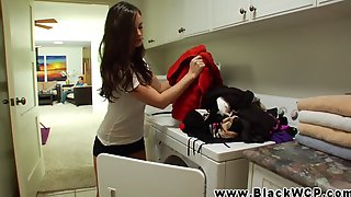 Horny brunette cheats on her boyfriend with a black stud