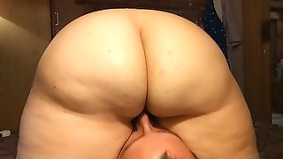 BBW with big juicy ass sits on guys face! Fat pussy eating. face ride