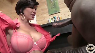 Juggy milf Shay Fox guzzles a heavy black dick before steamy interracial sex