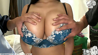 Big breasted asian with beautiful bra