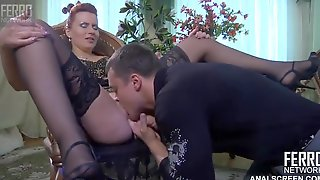 Hot Russian mature enjoys pussy licking on the chair and gets doggie