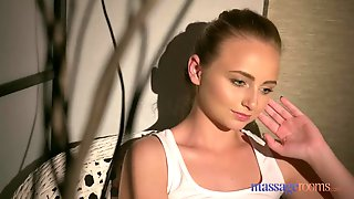 Massage Rooms Flexible blonde Russian babe is fucked by plump bum lesbian