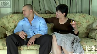 Old And Young (18+), Swallow, Granny, Masturbation, Big Tits, Mature, Natural, Russian Elsa, Short Hair Granny
