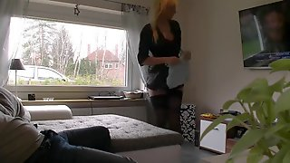 Pretty german dilettant blond maid makes some special service