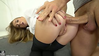 Crazy anal slut Anya Akulova rides dick like crazy and swallows cum