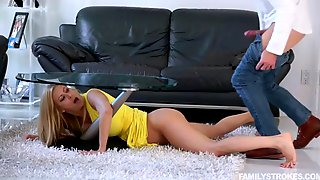 Stepson takes advantage of his stuck under the table stepmom alexis fawx