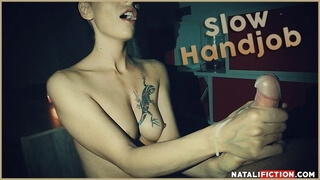 Slow Handjob and Cum Dripping down my Hands - Natali Fiction