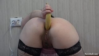 Banana in Ass, Anal with Banana and Masturbation Girl with Hairy Pussy