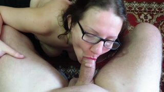 Blowjob and Cum on Big Tits Mature Mothers