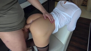 Hot Horny Stepsister Play with Steprother in Kitchen