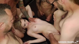 Tiny Lexi Lore gets Gangbanged and given 9 Loads