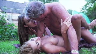 Hardcore old and Young Action with two Teens Fucking the same Grandpa