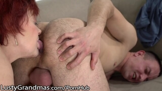 LustyGrandmas BBW Redhead GILF Rims Ass of Young Stud