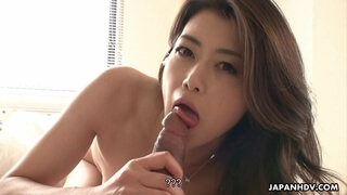 Slim Japanese wife sucks and rides hard shaft in POV