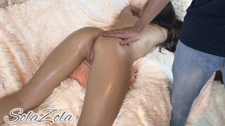 Oiled Cute Teen have Multiple Orgasms while get Massage - Solazola