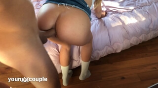 Petite Teen Riding a Big Cock in both Holes.