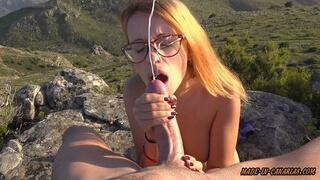 He Surprised me with a Huge Cumshot in my Face on Top of a Mountain