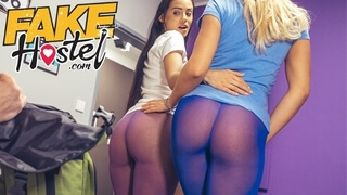 Fake Hostel Big Booty Fun in Tights with Hardcore in Threesome