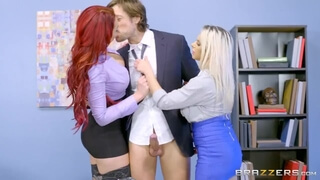 Rachel and Skyla Share some Office Cock - Brazzers