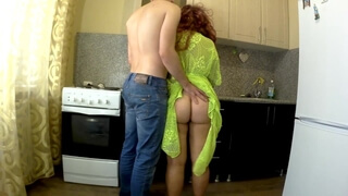 Son Anal Sex with Stepmom in the Kitchen. Amateur Mother Ass and Blowjob