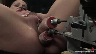 sexy girl enjoying 2 machine penis sex