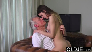 Old and Young Porn - Babysitter pussy fucked by old man