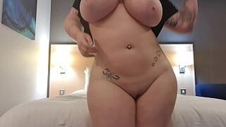 Hear how wet that pussy is as it bounces twerks and shakes sexy whore in a hotel room teasing in her long tee playing around moving her ass in multiple positions harmony reigns is super busty and curvy