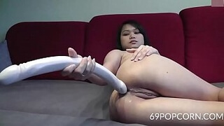Asian 3 Feet Long Dildo in the Ass - More at 69POPCORN.COM