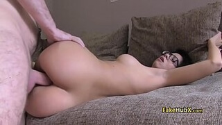 Gal fucks her ass on fake casting