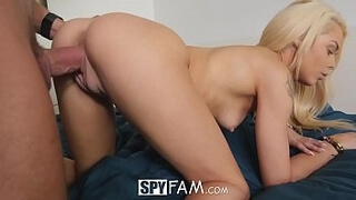 SpyFam Step brother gives blonde step sister Elsa Jean fucking tips