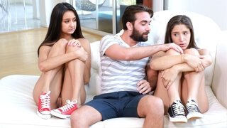 Threesome creampie swapping for nice teens Abella Danger and Eliza Ibarra