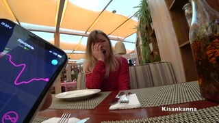 Teen Girl get Orgasm in Restaurant! Public Cum! Lovense! Kisankanna