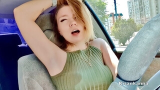 Teen Girl had Orgasm in Public! Public Orgasm in Car! Lovense in Kisankanna