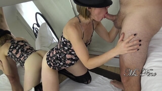 Wife Takes it in both Ends! Amateur Couple Blowjob & Dildo Fuck in Mirror!