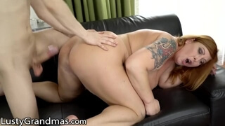 LustyGrandmas Curvy Red Mature gets her best Drilling in Years