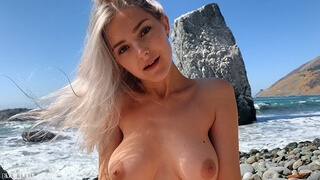 Russian Teen Girl Swallows Hot Cum on Californian Public Beach - Eva Elfie