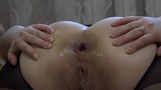 A bottle in anal and a huge dildo in pussy for a bright orgasm. Homemade masturbation and stretching insatiable holes. Gaping ass and gaping cunt.