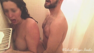 MILF Painal, Katja Struggles with my Cock in her Ass in the Shower