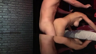 Big Tits Babe Locked in Guillotine, Fucked and got Huge Cumload on her Face