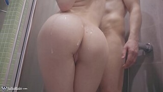 Babe Masturbate Pussy and Handjob Dick in the Bathroom