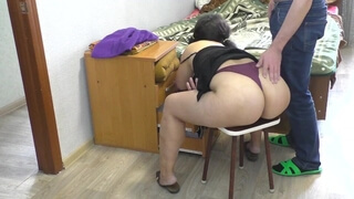 The Stepmother Bent down and the Son Fucked her in the Big Ass. Mom Anal