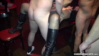 Naughty slutwife gangbanged by 20 guys frequently