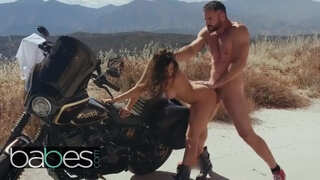 BABES - Hot Biker Runaway Ashley Adams Gets Faced Fucked and Pounded