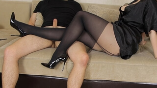 Teen School Teacher Pantyhose Tease Handjob and Ruined Orgasm