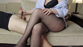 Teen Step Sister in Pantyhose Tease Handjob and Footjob