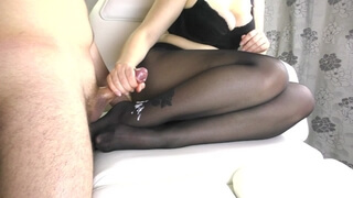 StepSis Teen Big Ass and Big Tits in Pantyhose - Handjob, Cum on