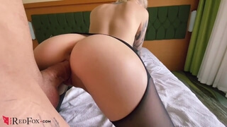 Babe in Pantyhose Pussy Licking, Hard Doggy Sex and Blowjob with Cum on Tit