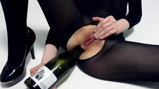 Girl Fucks Ass with Bottle. and Cums