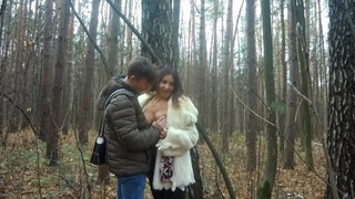 Mom and Son are Walking in the Autumn Forest, Blowjob, Cum in Mouth