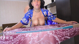 Mature MILF with a Big Ass. Anal Sex and Blowjob with Mature Stepmom